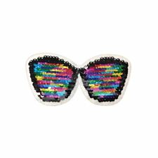 Reversible Double Sequin Glasses (Iron On) Embroidery Applique Patch Sew Badge