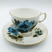 Queen Anne Patt. No. 8522 Tea Cup & Saucer Blue Flowers, Gold Trim