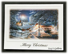 Vintage Terry Redlin Evening Frost Merry Christmas Blessed Peace and Joy Card