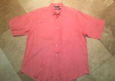 Nautica Short Sleeve Button Shirt 100% Linen Orange L