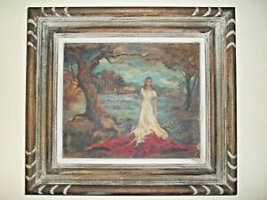 Primitive oil Painting On Canvas Girl in Moor signed antique original