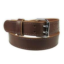 """1 3/4"""" Heavy Duty Leather Work_Gun Belt Stitched_2 Prong Buckle_Amish Handmade"""