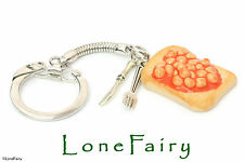 Polymer Clay Beans on Toast Cutlery Food Keyring Key Chain Retro Jewellery