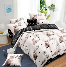 Single/Double/Queen/King Size Bed Quilt/Duvet Doona Cover Set Cat Dot Meow