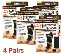 4 Pairs Miracle Copper Socks Anti Fatigue Compression black UNISEX with box