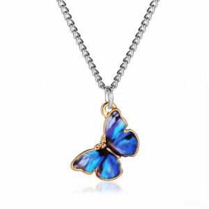 Fashion Women Fashion Colorful Butterfly Necklace Simple Pendant Choker Chain