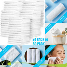 24/60 Pack of Washcloths 12 x 12 White Fingertip Towels Quick-Dry 100% Cotton