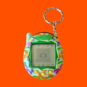 Tamagotchi Connection Green Multicolor Tropical Flowers Rare Pattern
