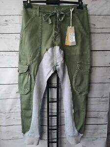 TOP! Melly&CO Baggy bequeme 2 in 1 JOGGING JEANS Khaki Grau Stretch Knöpfe XL 42