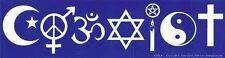 BUMPER STICKER - COEXIST - MULTI-FAITH Wicca Witch Pagan Goth Buddha Christian