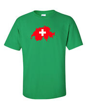 Swiss Switzerland Suisse Flag White Cross Red  Map Cross T-Shirt Tee Men's New
