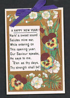 Victorian New Year's Card 1877 ~ Bible Verse Quote ~ Pansies Purple Ribbon Poem