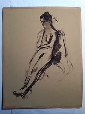 "original watercolor Washed ""Nude""  signed seymour remenick 1923-1999"