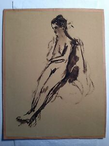 """original watercolor Washed """"Nude""""  signed seymour remenick 1923-1999"""
