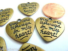 BRONZE CHARMS: 10 * You Are Always In My Heart * Memorial Valentine Word Hearts