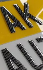 Pair Number Plates Front And Rear 3D Gel CARBON Gloss Black Road Legal Reg Car