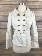 Anthropologie Idra 100% Cotton Ruffle Jacket Coat Style In Beige Size 4