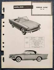 SUNBEAM ALPINE GIRLING 1959 Car Brakes Installation Maintenance Data Guide