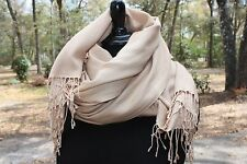 "New Pashmina Wrap Cashmere Silk Scarf Camel Tan Brown Large 79"" x 36"" Shawl Long"