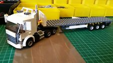 LEGO CITY Custom Bianco 6 ruote camion con Tri-AXL Pianale Rimorchio MK 3 L @ @ K