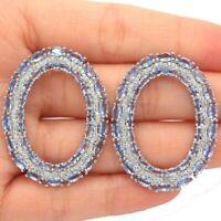 Beautiful Rich Blue Violet Tanzanite CZ Woman's Gift Silver Earrings