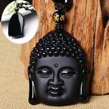 Natural Carved Head Pendant Saint Patron Hand Buddha Lucky Obsidian Necklace
