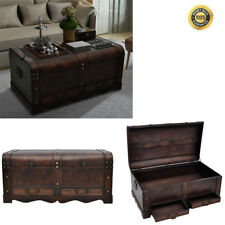 Coffee Table With Storage Box Vintage Large Wood Treasure Chest Trunk End Table