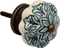 Ceramic Door Knob Cabinet Drawer Handle, Vintage Flower, Dark Green - x1