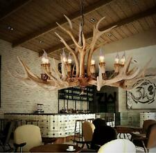 Retro 6/8-Lights Antler Chandeliers Deer Horn Resin Candle Pendant Lamp Fixtures