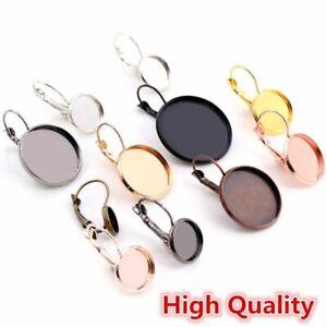 10pcs Lever Back Hook Earrings Flat Round Trays Blank Cabochon Jewelry Makings