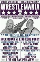 Wrestlemania 2 1986 Hulk Hogan King Bundy Retro Wrestling Poster A4 8x11 WWF