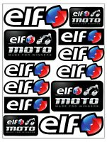 Set 12 Vinile Adesivi Elf Logo Style Olio Vinyl Stickers Auto Moto SX Casco Bici