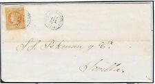 España. Carta circulada con sello de 4 ctos matasello fecha Alburquerque
