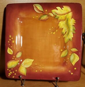 """Gates Ware Red & Orange w / Leaves Square Dinner plate, 10 1/2"""" Laurie Gates EUC"""