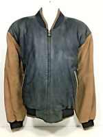 Members Only Suede Leather Jacket Men's Size L Black Brown Varsity Bomber Coat