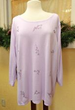 NEW Womens 2X Plus Pullover Sweater Lavender Multi Floral Accents LS Scoop Neck