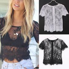 HK- Sexy Women See-through Lace T-shirt Short Sleeve Crop Top Hollow Blouse Clot