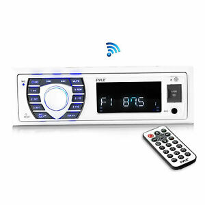 Pyle PLRMR23BTW Single DIN Marine Bluetooth Stereo Receiver with Remote, White