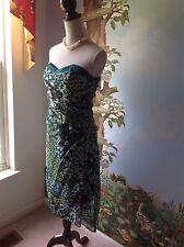 Arden B. Juniors Green and Black Women Strapless Silk Dress Size Medium
