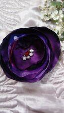 Purple Shabby Chic Vintage Fabric Textile Flower bead Corsage BroochPin handmade