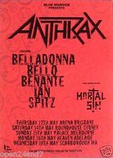 ANTHRAX / MORTAL SIN 2000 AUSTRALIAN CONCERT TOUR POSTER-Band Logo,Names & Dates