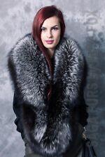 Real 100% silver fox full fur lenght collar.Extra large.Saga Furs