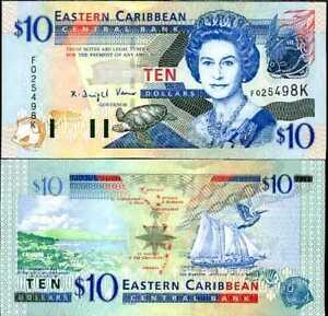 EAST CARIBBEAN 10 DOLLARS P 43 K ST KITTS UNC