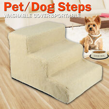 Pet Dog 3 Steps Portable Pet Soft Plush Ladder Washable Cover Cat Stairs Ramp