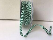 "1/4"" Twill/Chevron Stripes Ribbon - May Arts -382-14-15 - Green/White - 5 yds"
