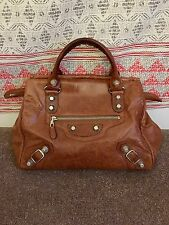 Balenciaga Giant 21 Silver Mid Day Tote Handbag Brown EUC