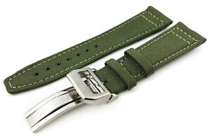 Green Canvas/Leather Strap/Band Buckle fit IWC Pilot Watches 20mm 21mm 22mm