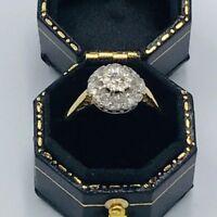 18ct Gold Diamond Set Cluster Engagement Ring Sz N #287