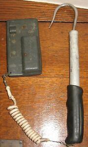 Vtg Pompanette Stainless Steel Fishing Gaff Hook & Gaff-Tote Plug-Tote Holder