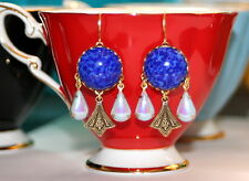 Vintage Lapis glass powder blue ab Art Nouveau artisan dangle earrings